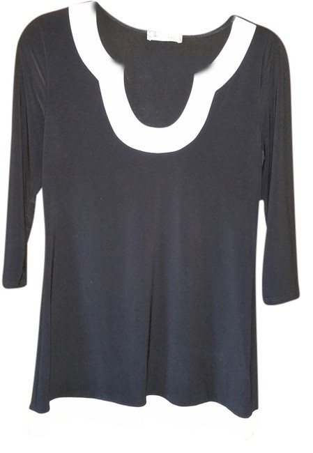 Preload https://item1.tradesy.com/images/black-with-white-trim-tunic-size-8-m-2187915-0-0.jpg?width=400&height=650