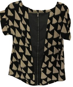Alya Leather Zipper Triangles Pattern Accent Top Black and Tan