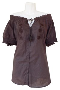 Caribbean Joe Embroidered Floral Tassels Plus-size Cotton Top Brown