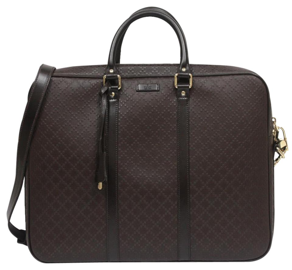 3bd2b70db Gucci Men's Large Briefcase 208468 Dark Brown Diamante Leather ...