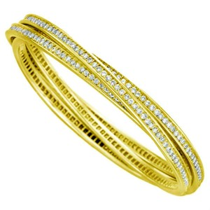 Cartier Cariter Yellow Gold trinity Bangle Bracelet Full Diamond
