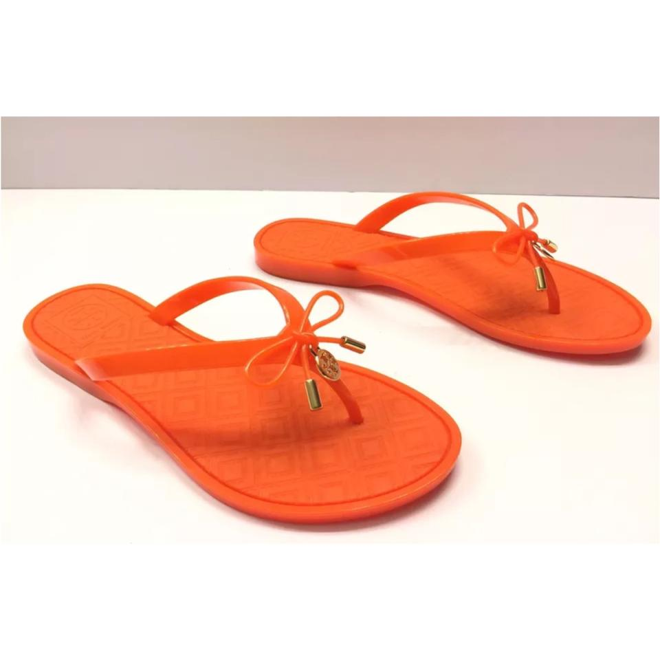d1aeac6f456f Tory Burch Orange Jelly Bow Logo-charm Thong Sandals Size US 6 ...