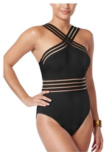 Kenneth Cole KENNETH COLE STOMPIN IN STILETTOS ILLUSION STRIPED SWIM SUIT XL BLACK