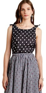 Harlyn Knotted Buttons Pattern Crop Midi Top Navy and white