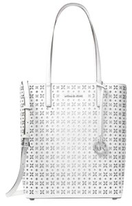 Michael Kors Emry Saffiano Leather Satchel Tote in optic white