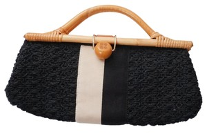 Kate Spade Woven Wooden Handles Snap Handbag Grosgrain Black + White Clutch
