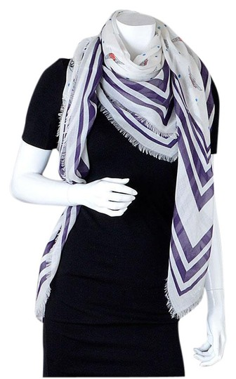 Chanel Soft White and Plum Polkadots & Wing Pins Shawl Image 0