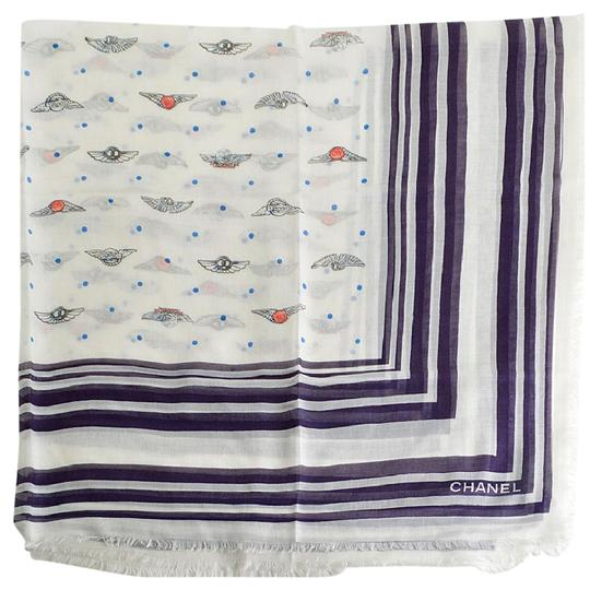 Chanel Soft White and Plum Polkadots & Wing Pins Shawl Image 1
