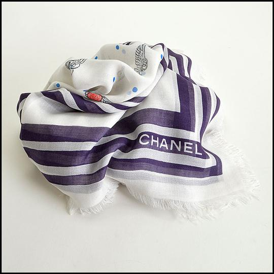 Chanel Soft White and Plum Polkadots & Wing Pins Shawl Image 2