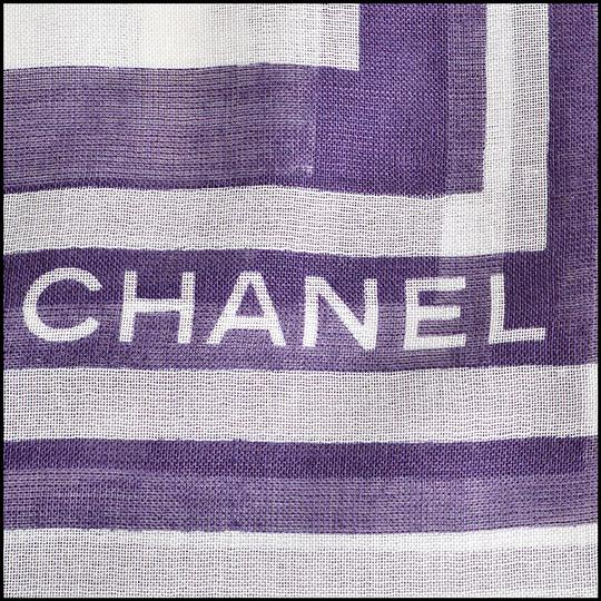 Chanel Soft White and Plum Polkadots & Wing Pins Shawl Image 3