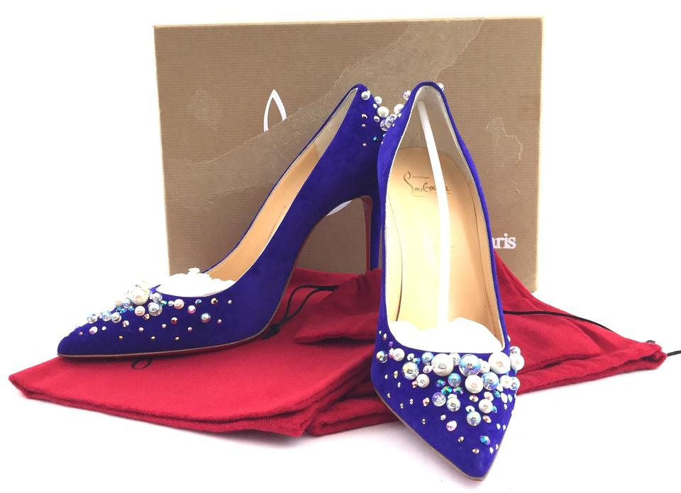 f3121911ff02 Christian Louboutin Blue  13318 Bead Leather 37.5 Pumps Size US 7 ...