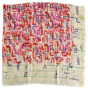 Chanel Cream/Red Multicolor Brushstrokes Shawl