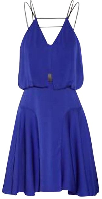 Preload https://img-static.tradesy.com/item/21880721/milly-royal-blue-leather-trimmed-stretch-silk-mid-length-short-casual-dress-size-4-s-0-1-650-650.jpg