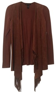 INC International Concepts Faux Suede Fringed Cardigan