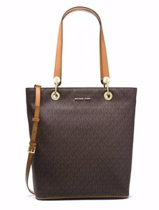 Michael Kors Emry Saffiano Leather Satchel Tote in brown acorn
