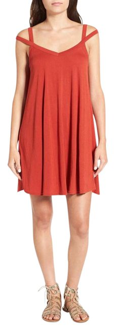 Item - Red Jersey V Neck Swing Short Casual Dress Size 6 (S)