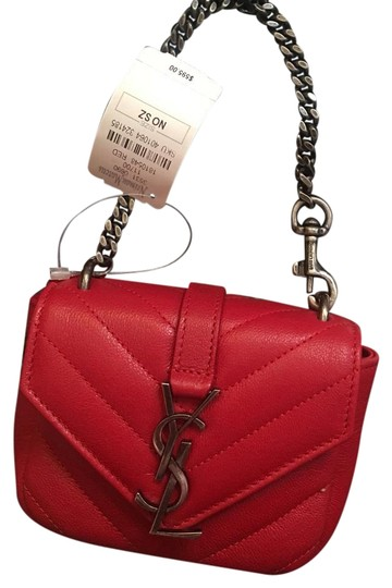 e7930dcf14f2 Saint Laurent Red Leather Monogram College Wristlet - Tradesy