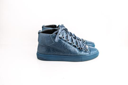 Balenciaga Arena Leather Mid-top Sneaker Blue Shoes Image 3