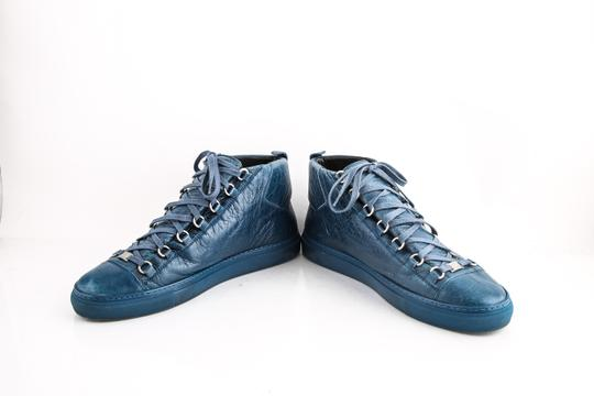 Balenciaga Arena Leather Mid-top Sneaker Blue Shoes Image 4