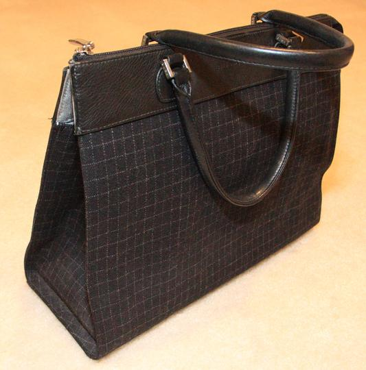 Rafe Leather Wool Winter Tote in black and charcoal