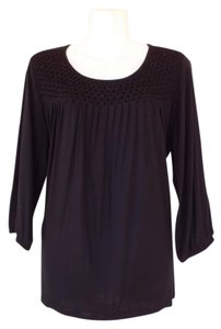 George Flowy Beaded Quarter Sleeve Casual Top Black