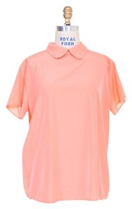 b678875ae607 American Apparel Vintage Peter Pan Collar Silk Breathable Bright Top Coral