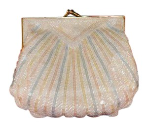 """Carla Marchi Vintage New Gold Metal Frame No Scratches. 3mm W/44"""" Strap White, Pink Blue Pastel Clutch"""