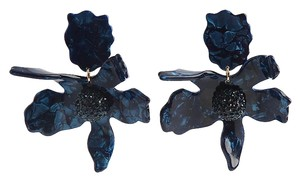 Lele Sadoughi BRAND NEW Lele Sadoughi Navy Blue Crystal Lily Flower Earrings