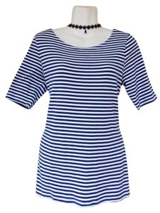 Banana Republic Scoop Striped Quarter Sleeve Soft Top Blue, White