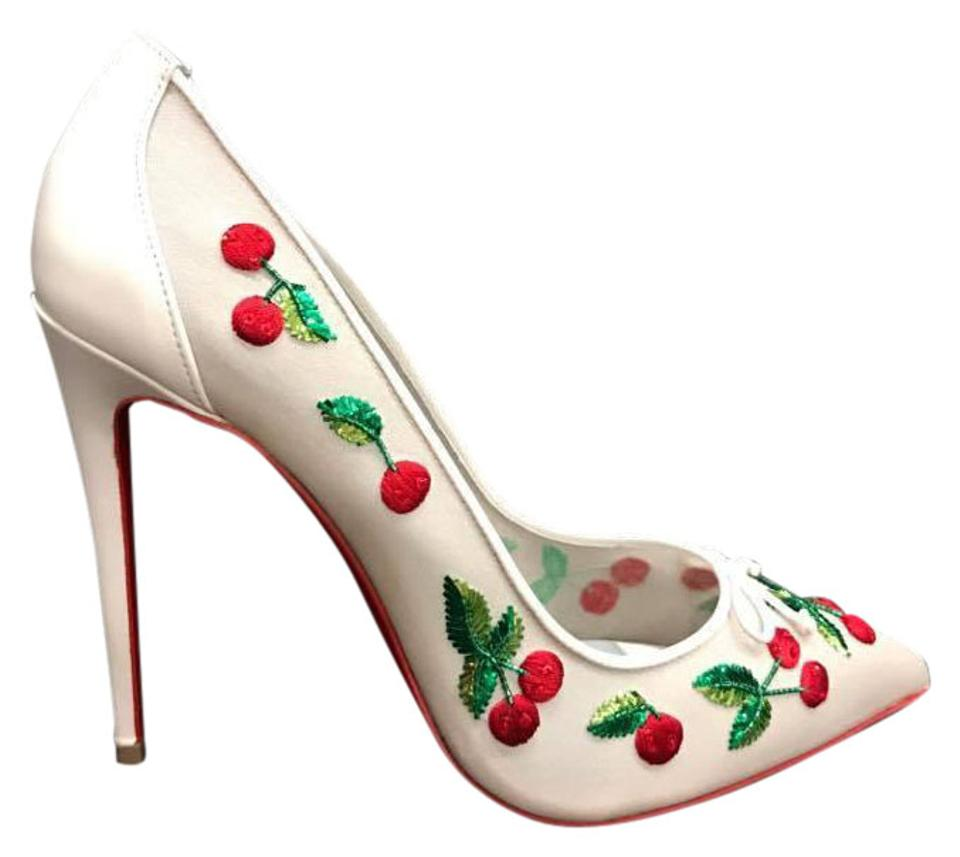 3895278d584f Christian Louboutin White Cherrypump 100 Red Cherry Heel Pumps Size ...