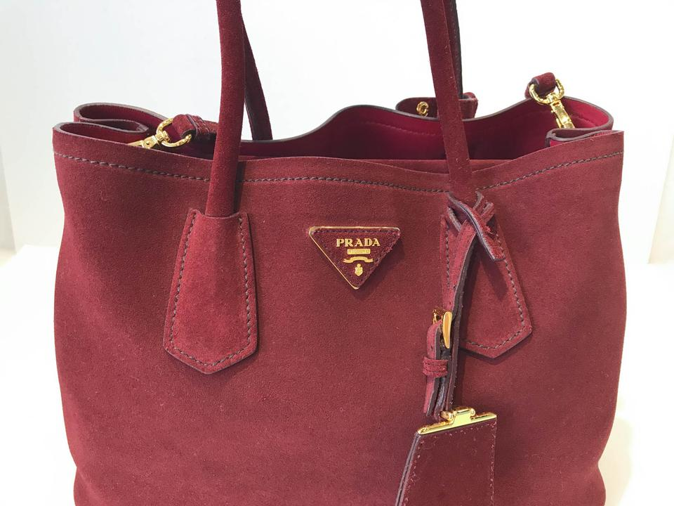 38597ccecb8f Prada Saffiano Cuir Large Red Suede Leather Tote - Tradesy