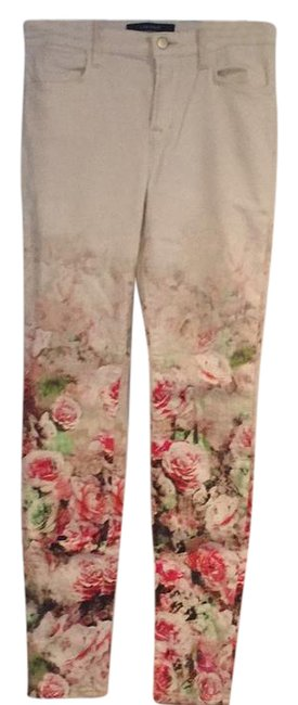 Item - Cream Light Wash Photo Ready Floret Skinny Jeans Size 28 (4, S)