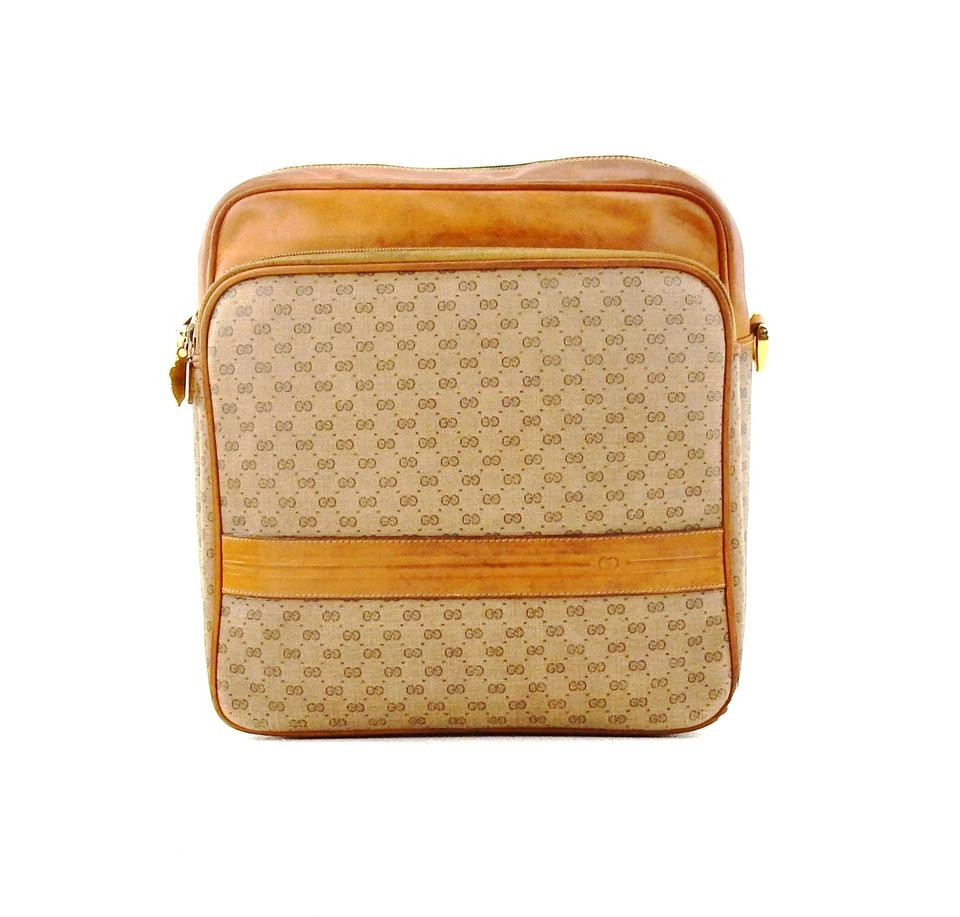 61b7aae9ed4 Gucci Vintage Travel Pouch Brown Micro Gg Monogram Canvas Leather ...