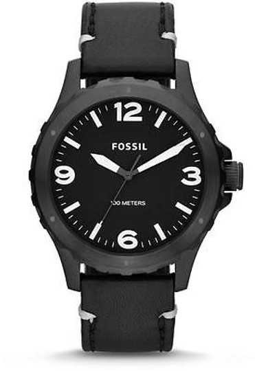 Fossil Fossil Nate Black Ip Leather Mens Watch Jr1448