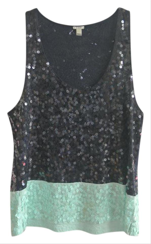 818136bc23fa8 J.Crew Navy and Light Blue Sequin Two Tone Blouse Size 14 (L) - Tradesy