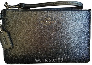 Coach Leather Glitter Metallic Silver Wristlet in Gunmetal