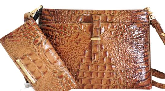 Brahmin All Day Convertible Crossbody + Wallet Brown/Toasted Almond Genuine Leather Messenger Bag