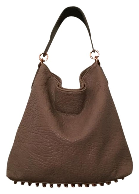 Item - Darcy Latte and Rose Gold Studs Lambskin Leather Hobo Bag