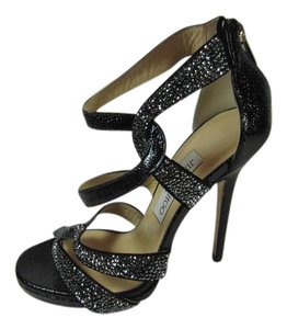 Jimmy Choo 8 Strappy Caged Black Sandals