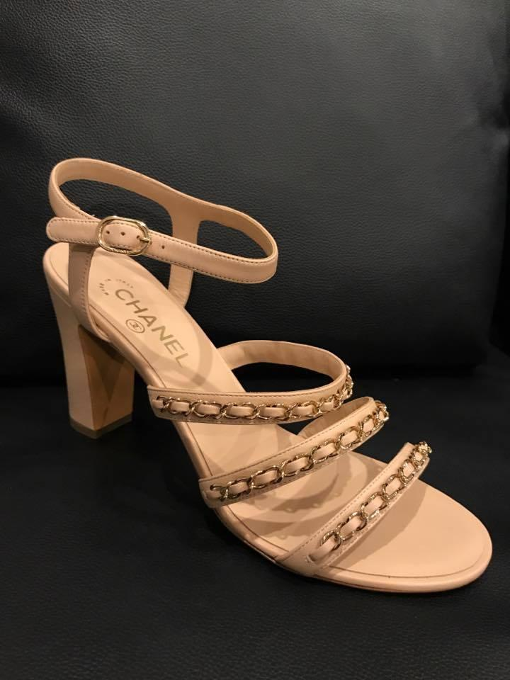 ed6701c747f Chanel Beige 17s Leather Gold Cc Chain Block Heel Sandal Pumps Size ...