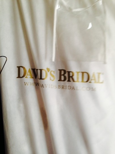 David's Bridal Cap Sleeved Satin Side-draped A-line Gown Style: 9t3090 Wedding Dress