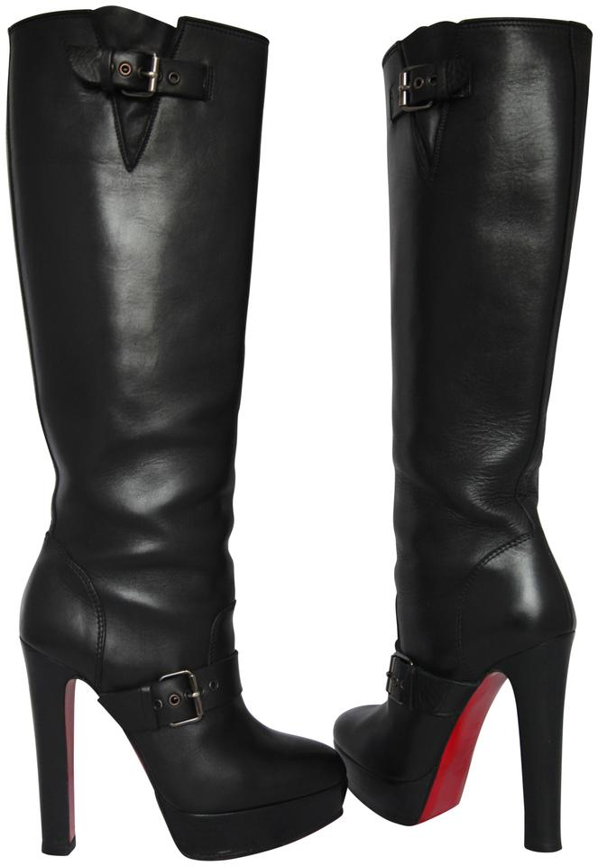 new concept 1c43a bc73c Christian Louboutin Black Harletty Itleather Knee High Platform Heel Lady  Fashion Red Sole Boots/Booties Size EU 38.5 (Approx. US 8.5) Regular (M, B)  ...