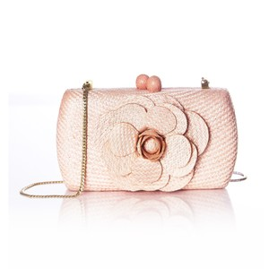 Anthropologie Kate Spade Straw Chanel Peach Clutch