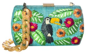 Anthropologie Kate Spade Straw Tucan Turquoise Clutch