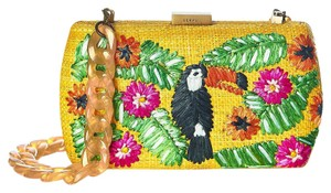 Anthropologie Kate Spade Straw Tucan Yellow Clutch