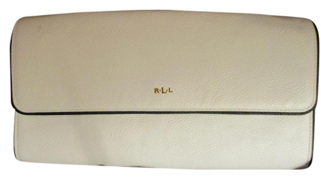 Item - Faux Leather White with Black Piping Man Made Clutch