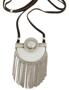 Lucky Brand LUCKY BRAND Large Silver-Tone Pearl Pendant Tassels Statement Necklace
