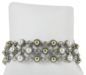 Lagos Lagos Sterling Silver 18K 3-Row Gold Dome Pearl Bracelet
