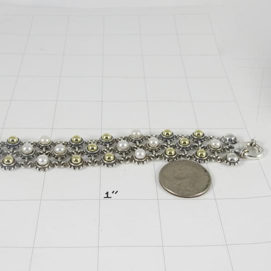 Lagos Lagos Sterling Silver 18K 3-Row Gold Dome Pearl Bracelet Image 10