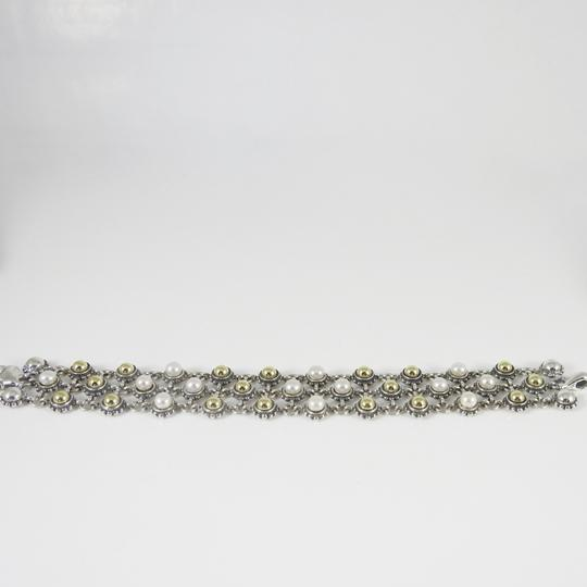 Lagos Lagos Sterling Silver 18K 3-Row Gold Dome Pearl Bracelet Image 11